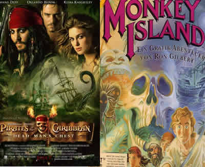 piratas dek caribe y monkey island