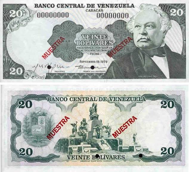 billete de 20 bolívares con la cara de Paez