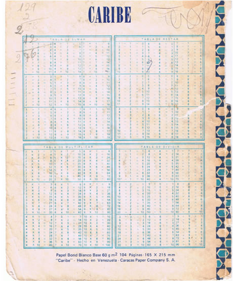 tablas de sumar, restar, multimplicar dividir del cuaderno caribe