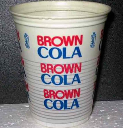 vaso brown cola de plástico de los ochentas