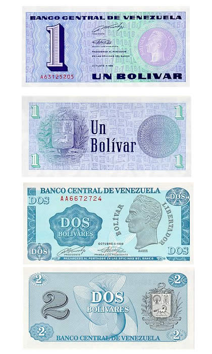 billetes 1 y 2 bolivares tinoquitos