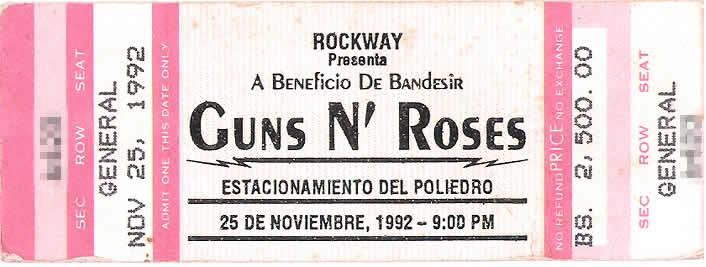entrada concierto guns and roses en la rinconada caracas 1992