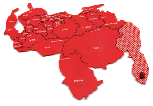 croquis rojo mapa de venezuela