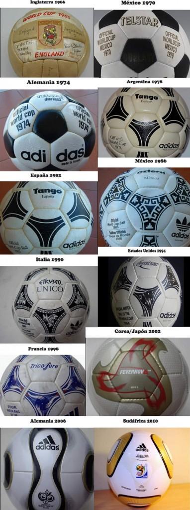 balones de fútbol de los mundiales