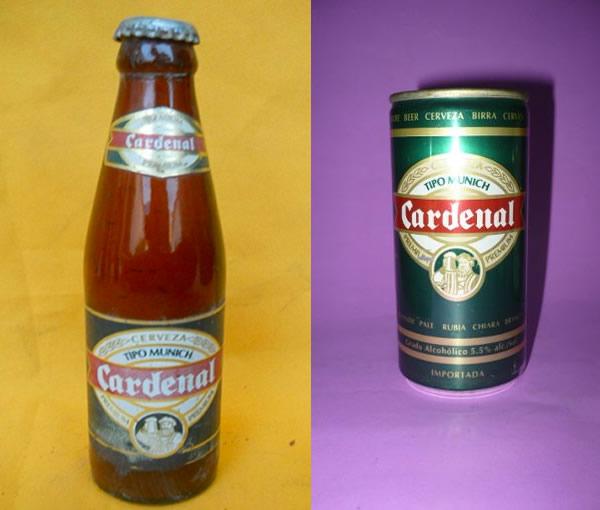 cerveza cardenal botella y lata