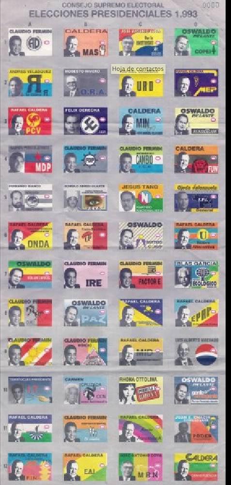Tarjetón Electoral presidenciales 1993 Venezuela