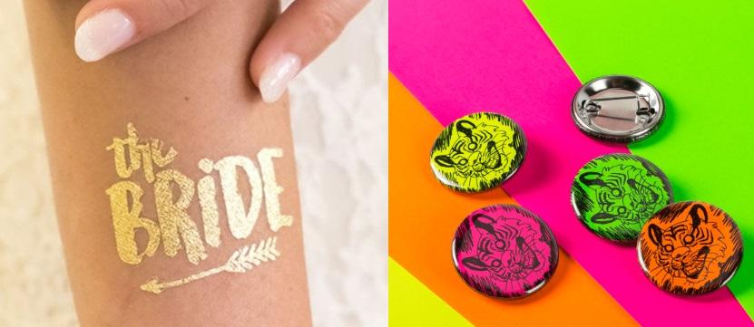 chapas y tatuajes para eventos y bodas